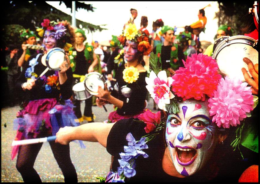 Maquillage de la troupe Amanita Muscaria à Toulouse, 1999